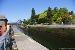Looking down a ship canal at the Hiram Chittenden Locks.jpg