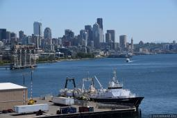 Katie Ann Boat of American Seafood Company with Downtown Seattle in Background