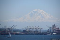 Mount Rainier in the Background of Port of Seattle