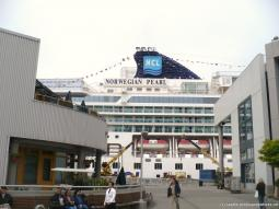 View of the Norwegian Pearl Starboard side while she is docked at Seattle cruise port.jpg