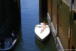 Casual boaters dock their boat at the Hiram Chittenden Locks.jpg